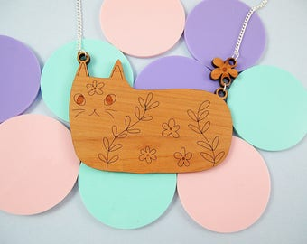 Wooden cat necklace - cat jewelry, laser cut wood, cat jewelry, cat, pet jewelry, cat necklace, laser cut, laser cut cat, cat lover gift,