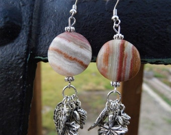 Sassy cowgirl italian onyx and leaf charm earrings #E55