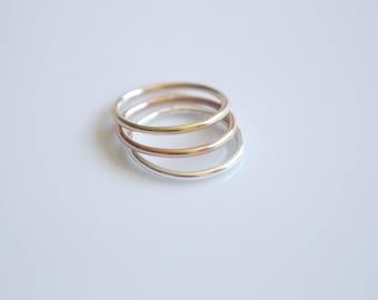 Gold Ring Set Stacking Ring Rose Gold Ring Gift for Her Minimalist Ring Set Wife Gift Mixed Metal Ring Set