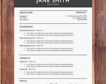 Creative Resume Template   Modern Resume Template   Cover Letter Templates   CV Template   Word Resume Template   Resume Design Download