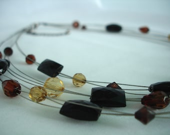 Multilayered Black, Brown and Yellow Acrylic and Glass Bead Necklace - 3 Strands