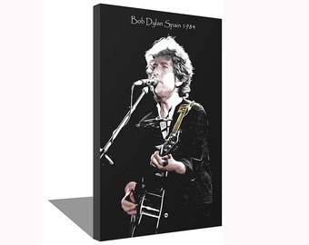 Bob Dylan Barcelona Spain 1984 100% Cotton Canvas Print Using UV Archival Inks Stretched & Mounted