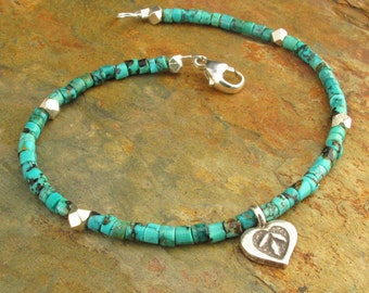 Turquoise Heishi Thai Hill Tribe Silver Bracelet - Rustic Love Charm