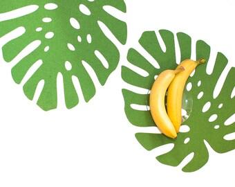 Monstera Leaf / Set Placemats / Tropical plant / Mat table / Felt Placemat
