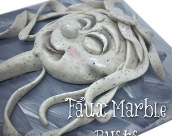 Mixed Media Polymer Clay Faux Marble Busts Tutorial - Learn How to Sculpt a Fantasy Faux Marble Creative Bust on Canvas Board