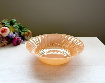 Fire King Serving Bowl, Peach Luster, Shell / Swirl, Vintage Milk Glass Bowl, Anchor Hocking Serving Bowl, Fire King Dinnerware