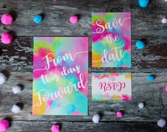 Bright wedding invitation, rainbow wedding invitation, bright and colourful watercolour wedding invitation, colourful save the date - SAMPLE