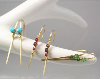 Three Pairs of Linear Earrings, Turquoise Gold Filled Dangles, Garnet Spinel Stems, Tsavorite Diopside Threaders, Artisan Designed