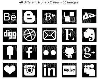 Social Media Icons Black, Social Media Buttons, Social Icons, Black Icons, Social Media Logos, PNG, Instant Download, Website Branding