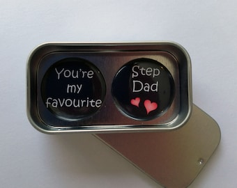 Step Dad, Father's Day, Birthday Card Alternative Magnet Gift Set with Gift Tin, You're My Favourite Step Dad, Handmade, Keepsake, Momento