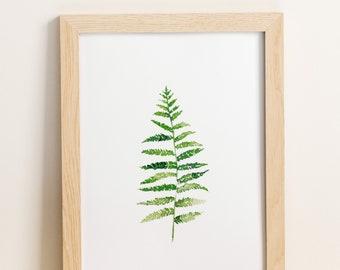 Watercolor Botanical Print, Common Fern, Tropical Leaf Art, Tropical Plant Print, Tropical Artwork, Tropical Leaf Decor