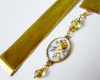Reef Gold Velvet Ribbon Bookmark w/Child Angel and Dove Cabochon
