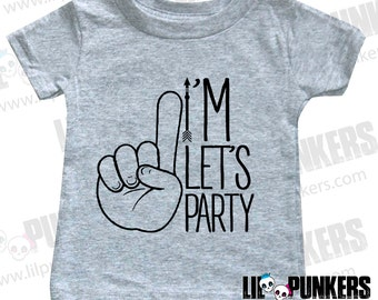 I'm One Let's Party Hipster Arrow Birthday Shirt, 1st Birthday Shirt,  Funny first Birthday