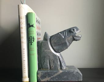 Vintage horse head bookend marble gray