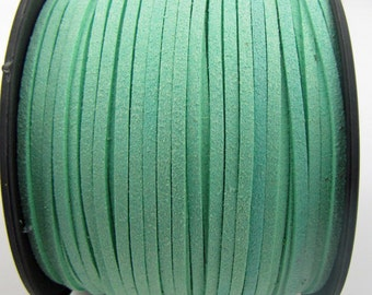 3mm flat faux suede leather cord,pale green,3X1.5mm,1-5yards