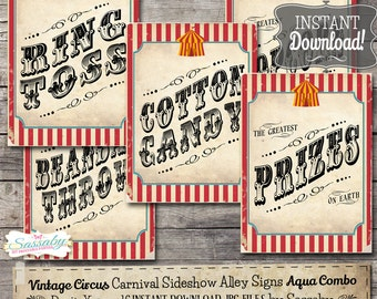 30 Vintage Circus Game/Carnival Signs Posters - Aqua Combo - INSTANT DOWNLOAD - Printable Birthday Carnival Party Decorations by Sassaby
