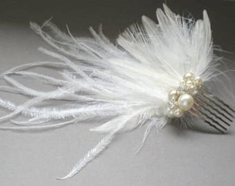 Bridal Feather Comb.. Ostrich Birdcage Bridal Veil Comb. Fascinator. Chic Prom. Bridal Bandeau Veil Accent.  Blusher Bridal Veil Comb.