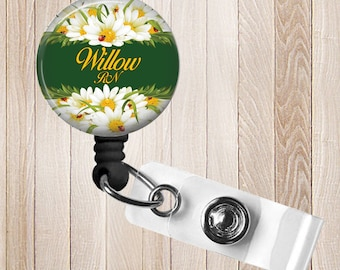 Sunflowers Personalized Retractable Badge Reel, RN, Lpn, Cna, Cma ID Holder
