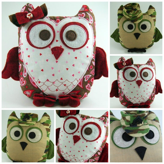 Huge Sale ... 2 Owl Pillow Sewing Patterns ... Sweetheart Owl
