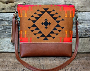 Southwestern Tribal Style Fabric Bag with Faux Leather Strap Tassel