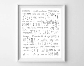 Coffee Types Print, Printable Art, Types of Coffee Sign, Coffee Sign, Coffee Print, Coffee Printable, Coffee Wall Art, Kitchen Printables