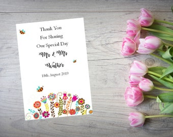 Personalised Wedding Thank You Cards with Matching Envelopes Pack Of 10 TY114