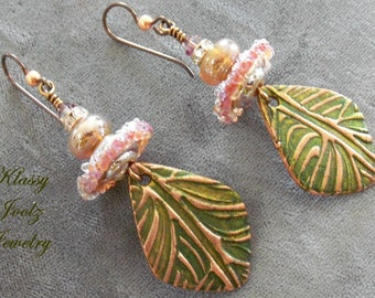 Copper Handmade PMC Charms-Glass Lampwork Beaded Earrings-Artisan Lampwork-Copper Earrings-Organic-Bohemian-Primitive Earring-SRAJD