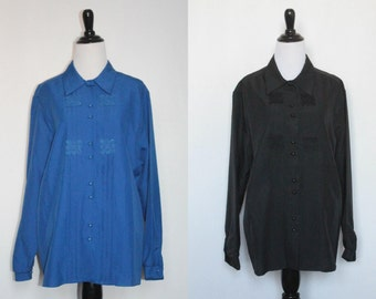 Vintage Stacy Michaels Blue Embellished Shirts (Blue and Black Available!)