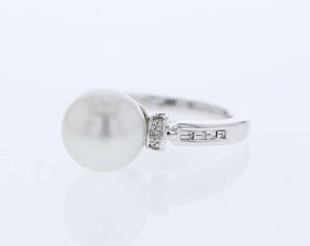 South Sea Pearl Ring with Channel Set Diamond