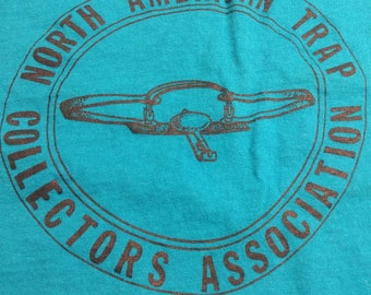 1986 North American Trap Collecting Assoc Turquoise T-Shirt Small 34-36 100% Cotton Trapping Hunting