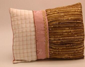 Vintage Pillow - Tan & Pink