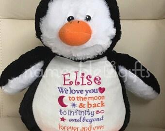 Personalized Stuffed Animal, Personalized Penguin, Personalized Baby Gift,  Birth Stat Gift, Birth Announcement Gift, Personalized Baby Gift