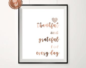 Copper prints // Copper heart // thankful // grateful // inspirational quote // happy quote // wall art // prints // posters // gift idea