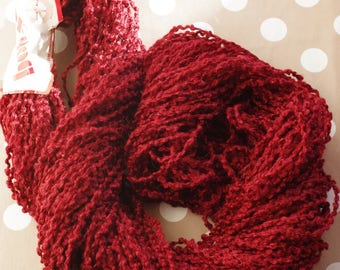 Burgundy curly wool skein