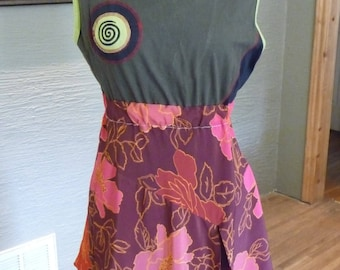 Upcycled Dress, Unique Clothing, Recycled Clothing, Urban Chic, Refashion Clothing, Green Top, Pink Skirt, Flowered Dress, Handmade Dress