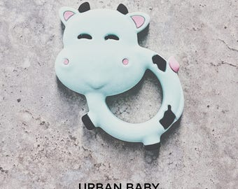 Baby Teething Toy, Silicone Toy Teether, Food Grade, Chewelry, Baby Shower, Baby Gift, Cow, Mint, Cute, Trendy