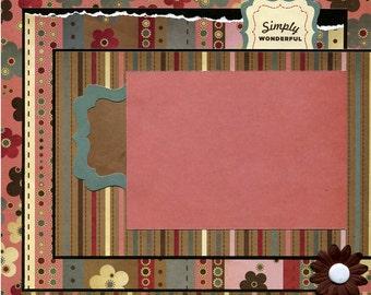 12x12 Premade Scrapbook Page - Simply Wonderful