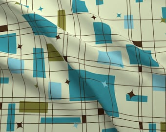 50s Fabric - Mid-Century Modern - Grid Stars (Teal) By Studiofibonacci - 50s Cotton Fabric By The Yard With Spoonflower