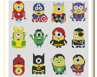 BOGO FREE! Minions Cross Stitch Patterns, Needlecraft Needlework PDF Instant Download, #06