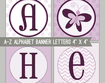 Purple Butterfly Banner Letters - A-Z - Printable PDF
