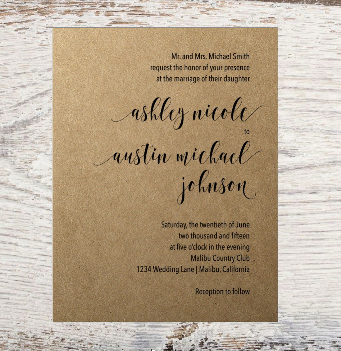 Wedding Invitation Basic Wedding Invitation Simple Timeless