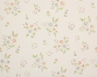 1970s Retro Vintage Wallpaper Small Blue Peach Bouquets by the Yard