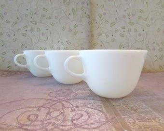 Vintage White Milk Glass Pyrex Coffee Cups