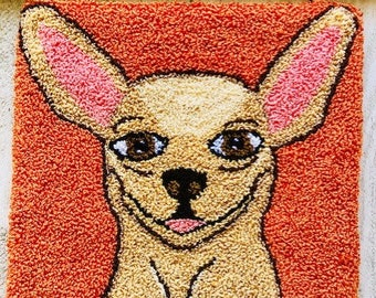 "Mailed Punch Needle Embroidery Pattern - ""Chi Chi Chihuahua"""