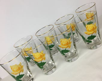 Vintage Libbey Highball Glasses, 50's yellow Rose bar glasses, Retro Bar ware, Libbey 10 oz. Gold Rim Rose Glasses, Libbey Glassware
