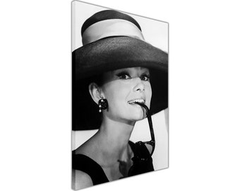 Black and White Audrey Hepburn with Sunglasses on Framed Canvas Pictures Movie Wall Art Prints Ready to Hang 18 mm Thick Frame