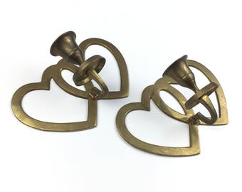 Vintage Brass Heart Pair of Candle Holders Set of 2 Wall Hanging