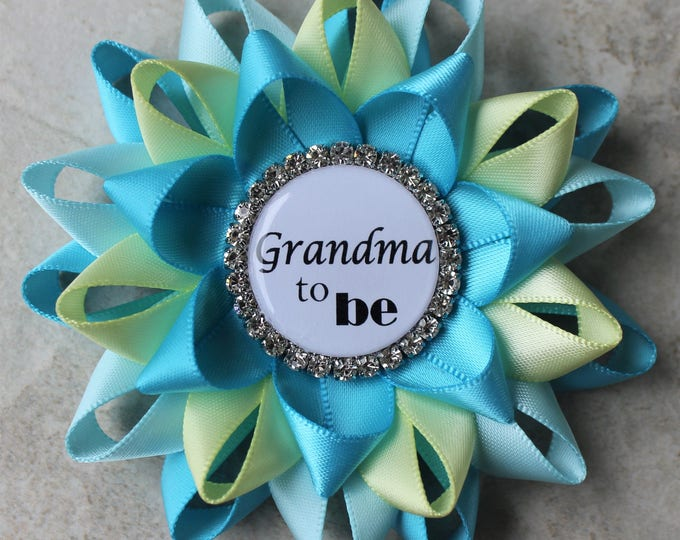 Baby Shower Decorations, Aqua Baby Shower Pins, Baby Shower Decor, New Grandma to be, Mimi, Nonna, Abuela, Turquoise, Aqua Blue, Pale Yellow