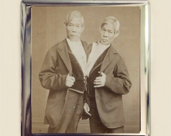 Chang and Eng Cigarette Case Business Card ID Holder Wallet Siamese Twins Conjoined Twins Circus Freak Freaks Sideshow