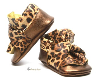 Bronze and Leopard Twisted Bow Leather Baby Moccasins, Baby Girl Moccasins, Leopard Baby Girl Shoes, Toddler Moccasins